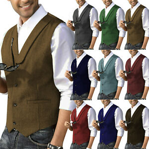 Classic Men Tweed Waistcoat Groomsman Vest Vintage Herringbone Wool Lapel Retro