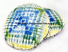 "2 PC Indigo Blue Floor Pillow Cover Hippie Round Tie Dye Shibori Mandala 32"""