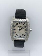Authentic Ladies 488 black Locman factory diamond Black Leather Quartz Watch