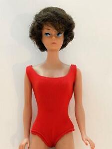 Barbie Bubblecut Vtg Doll Brunette 1961 Pat Pend Orig Body, Tagged Red Swimsuit
