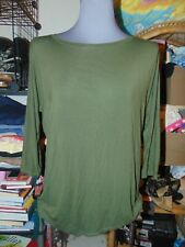 MICHAEL STARS ARMY GREEN TOP ONE SIZE 3/4 Sleeve Shirt KHAKI Long in Back NICE L