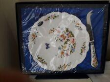 Aynsley cheese knife & pottery plaque Cottage Garden dans emballage d'origine/bo...