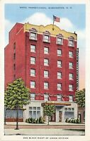 Washington DC 1940s Postcard Hotel Pennsylvania One Block Right of Union Station