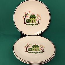 Knowles China 1950s Twin Oaks Pattern 10 Inch Dinner Plates Lot Of 4 USA