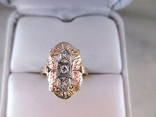 Antique Russian Style Solid 14K Yellow Gold Natural Diamonds Engagement Ring