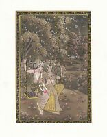Lord Radha Krishna Silk Painting Indian God Original Handmade Decorative Art