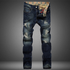 Mens Ripped Skinny Jeans Distressed Frayed Biker Slim Fit Denim Pants Trousers
