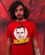 BAZINGA! THE BIG BANG THEORY Red 100% Cotton Size L T-Shirt
