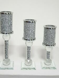 Crushed Crystal Diamond New Style Candle Holder Set of 3pcs Silver Crystal