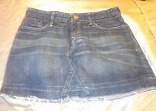EARNEST SEWN Blue Jean Denim Distressed Destroyed Mini Skirt SIZE 27