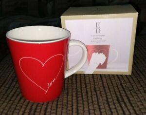 Ellen DeGeneres Coffee Mug Cup ED Mugs Signature White Heart Royal Doulton New