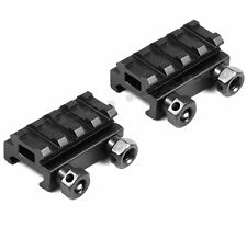 "2 QTY - 1/2"" 4-Slot Low Riser 20mm WEAVER PICATINNY Mount Rail"