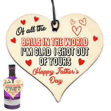 Funny Rude Birthday or Fathers Day Gifts Novelty Wooden Heart Gift For Dad