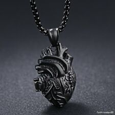 Stainless Steel Cool Black Anatomical Heart Human Organ Heart Felt Mens Necklace