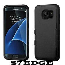 For Samsung Galaxy S7 Edge - BLACK Hybrid Armor Dual Impact Phone Case Cover