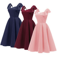 Formal Lace Party Dress Women Plus Size Ruffle Prom Gown Evening Bridesmaid Gown