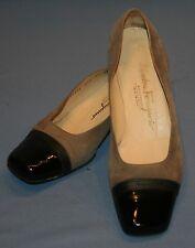 Salvatore Ferragamo Boutique Heels 8 1/2 B Pumps Lt Brown Black Patent Leather