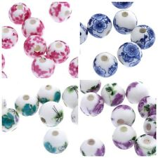 20x 12mm Floral Round Porcelain Ceramic Beads for Jewellery Making