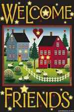 PRIMITIVE SALTBOX HOUSE WELCOMESMALL GARDEN FLAG