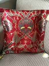 """Turkish High Quality Ottoman Style Chenille Cushion Pillow Cover 17"""" x 17"""" RED"""