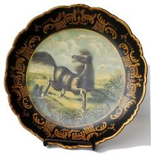 """Raymond Waites For Toyo Decorative Black Plate w/Painted Dancing Black Horse 10"""""""