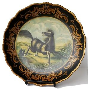 Raymond Waites For Toyo Decorative Black Plate w/Painted Dancing Black Horse 10""