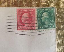 George Washington Rare Green 1 cent Stamp & Rare Red 2 cent Stamp PO Mark 1918