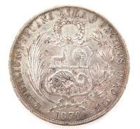 .1870 PERU 9 DECIMOS UN SOL SILVER COIN.