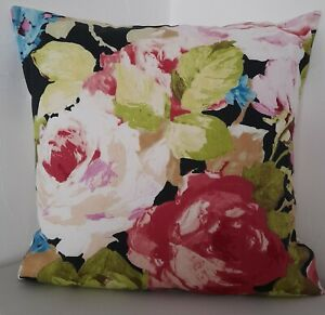 CUSHION COVERS SHABBY CHIC VIBRANT MULTI COLOURED BLACK LIME GREEN TEAL RED ROSE