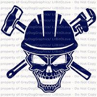 Pipefitter Skull Plumbing Vinyl Decal Sledgehammer Pipe Wrench Sticker Plumber