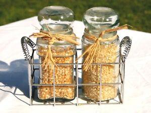 Apothocary glass Jar Set with Metal Rack Holder Silvertone Nice Storage Jars