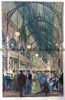 Antique Print 9-144 Royal Arcade in Melbourne c.1874 Antique Print