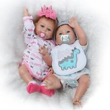 A Pair Reborn Twins Dolls 20'' Boy Girl Full Body Silicone Reborn Baby Doll 2pcs