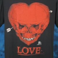 vintage 80s SKULL HEART LOVE PAPER THIN T-Shirt MEDIUM biker skeleton rock punk