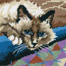 """Cuddly Cat Mini Needlepoint Kit 5""""X5"""" Stitched In Floss 088677072285"""