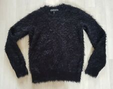 TOPSHOP size 6 petite FLUFFY JUMPER black LONG SLEEVES winter