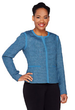 Dennis Basso Textured Boucle Jacket, Ocean Blue, Size 12, $99