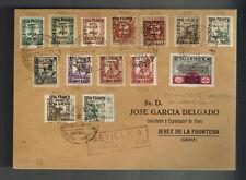 1937 Seville Spain Cover to Cadiz Fascist Airmail Overprints Complete Set