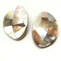 Mother of Pearl Abalone Mosaic Earrings, Large, Statement, Post Backs, Vintage