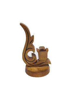 VTG Wood Wooden Hand Carved Taper Candle Holder Home Decor Scandinavian Tulip