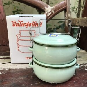 """Thai Traditional Enamelware Tiffin Lunch Box Food Container Pinto Bento 5"""" SizeM"""