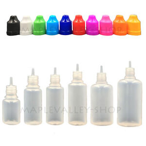 5ML-120ML LDPE Plastic Liquid Squeezable Water Dropper Bottles w/ Long Tip Caps
