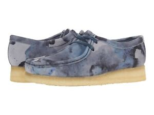 Men's Shoes Clarks Originals WALLABEE Lace Up Suede Moccasins 60205 BLUE CAMO