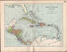 1903 MAP ~ WEST INDIES ~ CENTRAL AMERICA STATES JAMAICA PANAMA COSTA RICA