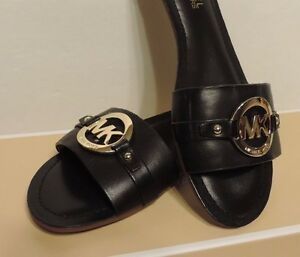 New Michael Kors Molly Slide Sandals black vachetta leather flat Round open toe
