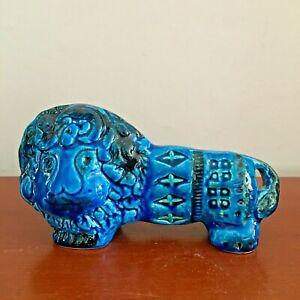 Bitossi Rimini Blue aldo londi animal figure LION italian pottery Blu
