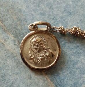 Medaillon Jesus Christus u. Marie Silber