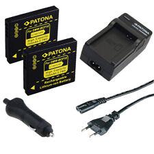 2x Batteria Patona + caricabatteria casa/auto per Panasonic Lumix DMC-FX40