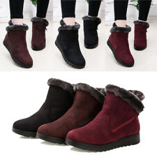 Womens Ladies Winter Ankle Boots Flat Non-Slip Fur Lined Warm Zip Up Shoes Size