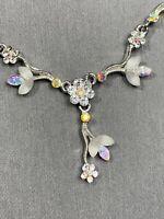 "Vintage AB. Pink Clear Crystal Pendant Pastel Drop Dangle Necklace 16"" Event"